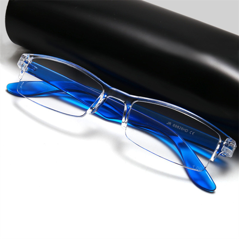 YOOSKE Half Frame Reading Glasses Presbyopic Eyewear Women Men Prescription Far Sight Glasses Magnifying Glasses With Cloth