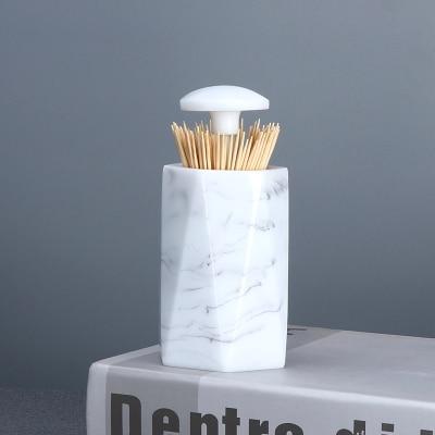 Европейская мода креативная мраморная текстура зубочистка коробка ручной давление коробка для хранения зубочисток настольная пепельница круглый ватный тампон коробка - Цвет: I