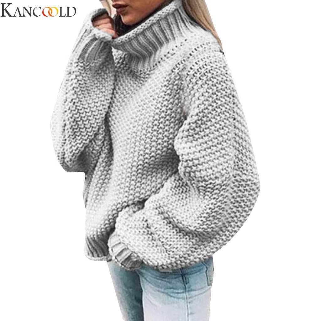 KANCOOLD Women  Plush lamb warm Turtleneck Sweater Autumn Causal Loose Knitted Pullover Fashion Solid Plus Size Sweaters