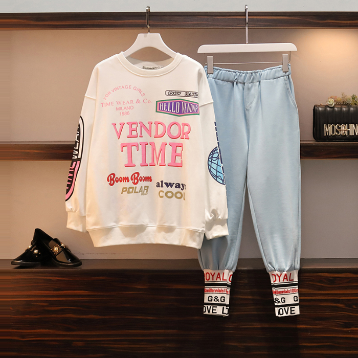 L-4xl Casual Korean Two Piece Sport Sets Outfits Women Plus Size Letters Print Sweatshirts And Pants Suits Fashion Kawaii Tracksuits Sets 52