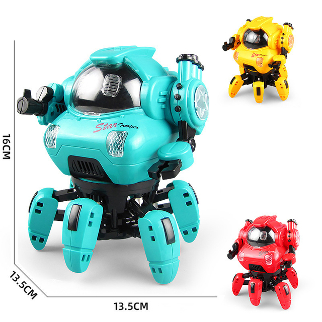 Dance Music 6 Claws Robot Octopus Spider Robots Vehicle Birthday Gift Toys For Children Kids Early Education Baby Toy Boys Girls 3