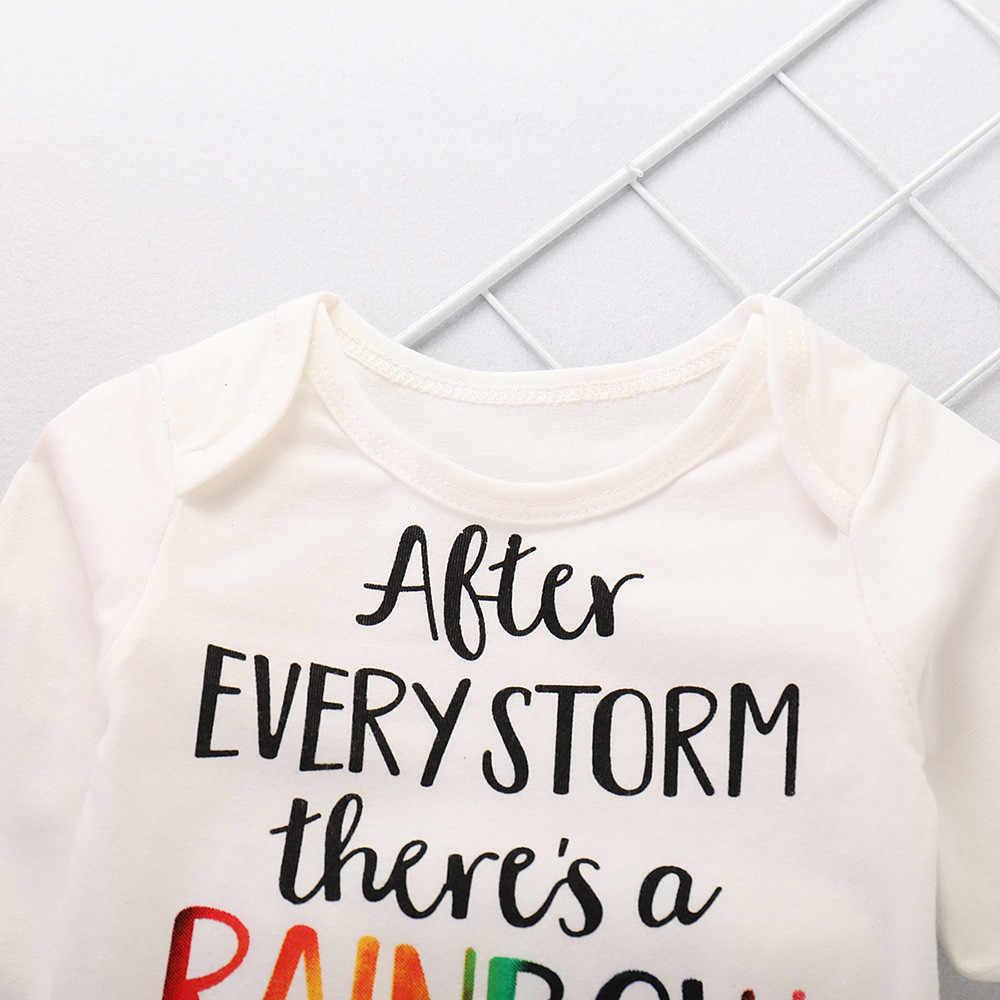 ファッション子供服幼児ベビーガールズボーイズレタープリントロンパースジャンプスーツ虹パンツ服セット vetement ランファン fille # guahao