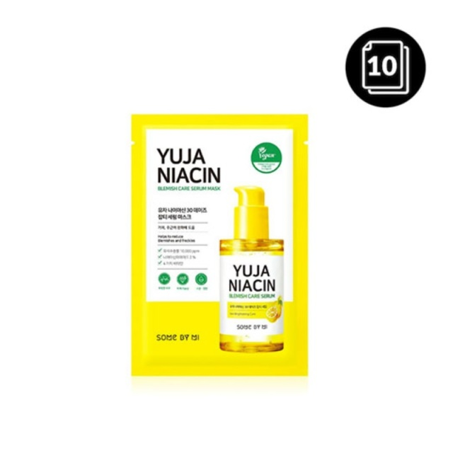 SOME BY MI Yuja Niacin Blemish Care Serum Mask 10ea Moisturizing Brighten Whitening Mask Oil-control Shrinkage Pore Antioxidant