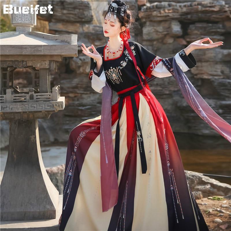 Ancient Hanfu Folk Dance Costume Women Traditional Hanfu Clothing Han Dynasty Oriental Princess Elegance Tang Dynasty Dance Wear