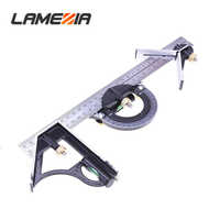 "LAMEZIA 300mm/12""Measuring 3 In1 Adjustable Ruler Multi Combination Square Angle Finder Protractor Tools"