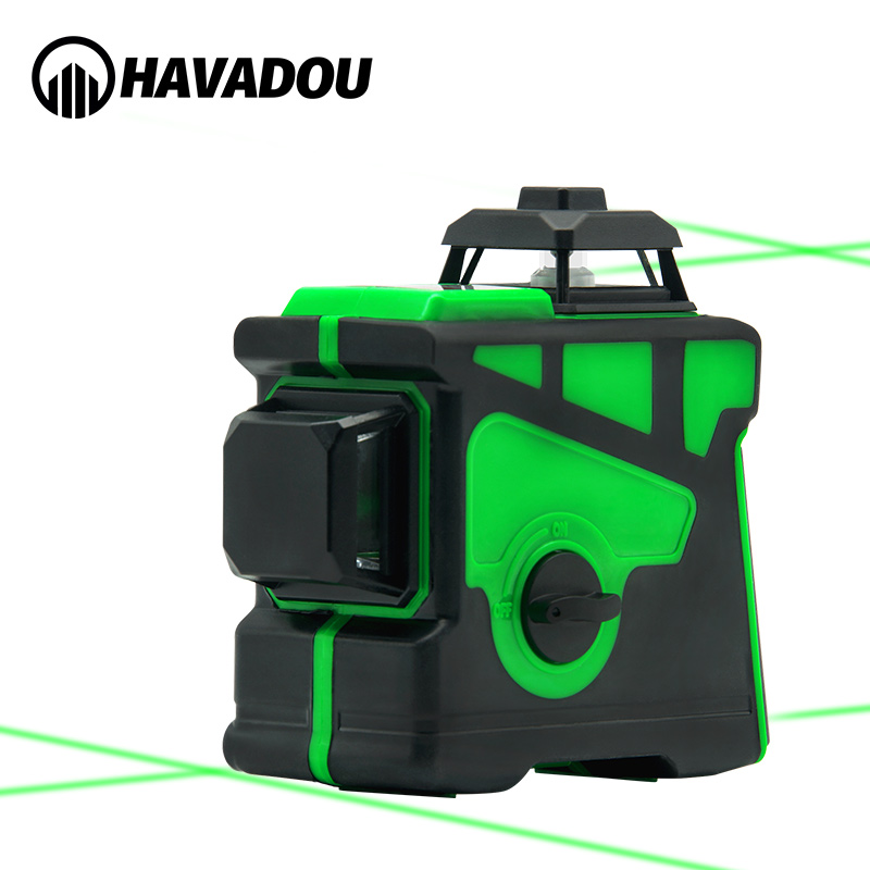 HAVADOU Green12 Lines 3D Auto Self-Leveling Laser Level 360 Horizontal Adjustment Super Powerful Green Laser Indoors and Outdoor