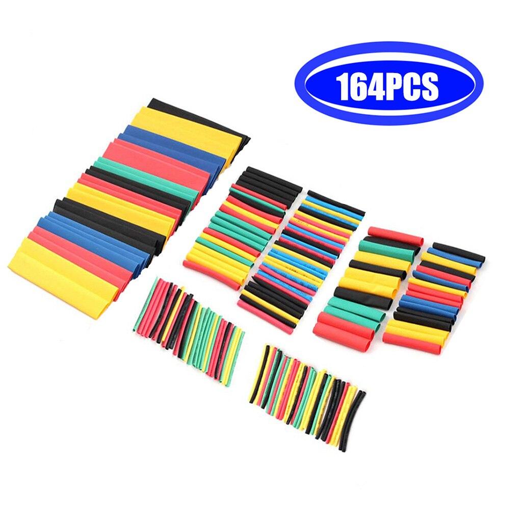 164 pces tubo de psiquiatra de calor kit de isolamento sleeving poliolefin encolhendo sortidas tubo de psiquiatra de calor cabo de fio