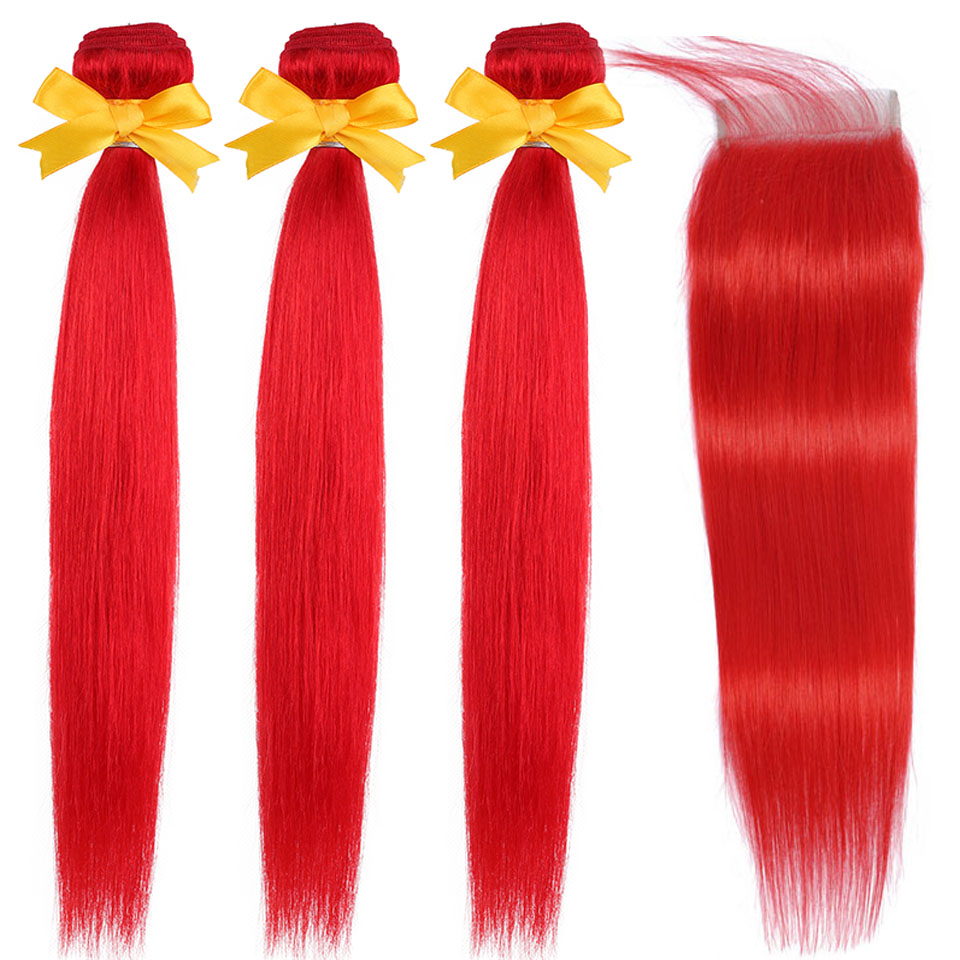 Red Bundles With Closure Pre Colored Hair Weave Peruvian Straight Human Hair Bundles With Closure With Baby Hair Remy Hair