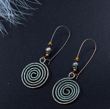Ethnic Verdigris Patina Green Antique Copper Hollow Spiral Vortex Drop Earring Bohemian Women Jewelry