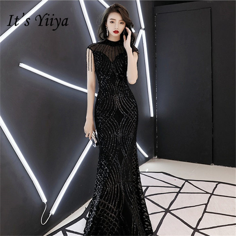 It's Yiiya Evening Dress O-Neck Sleeveless Tassel Women Party Night Dresses Black Sequins Floor Length Robe De Soiree E790