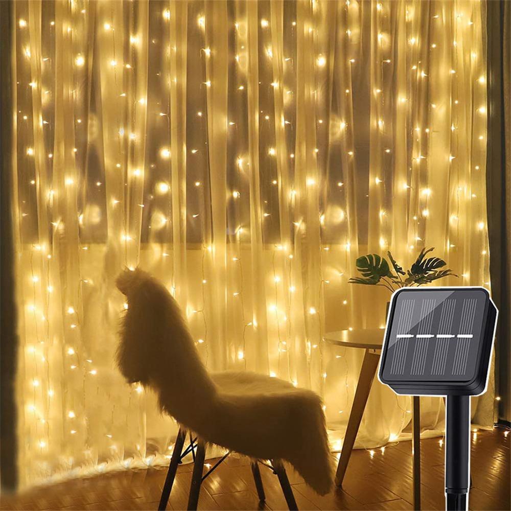 3X3M 300 LED Solar Powered Window Curtain String Light 8 Modes Outdoor Garden Patio Christmas Solar Garland Fairy Light