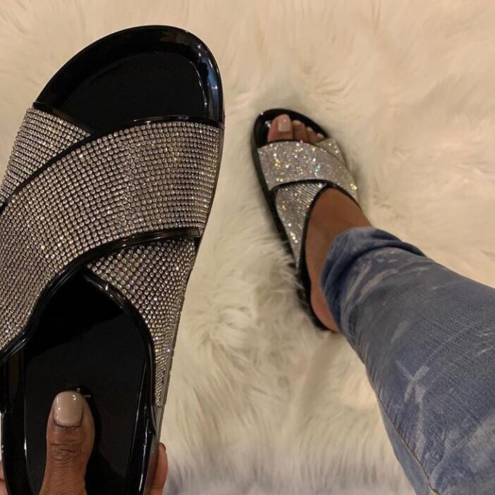 Factory Direct New Bright Diamonds Women's Platform Summer Sandals/ Flip Flop Outdoor Fashion Rhinestones Buckle Lazy Slippers