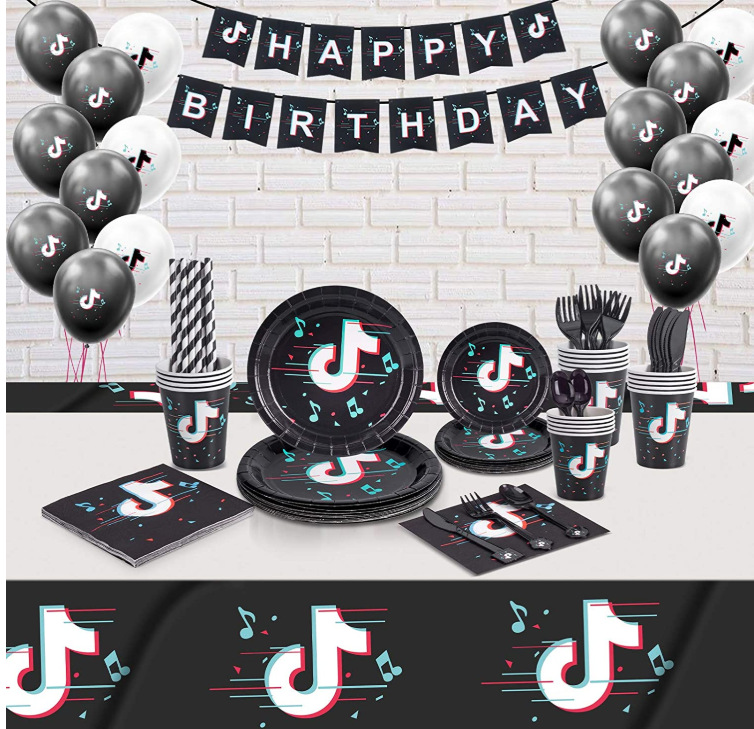 Fontes de festa tik tema aniversário impressão banner balão bolo topper música sinal bandeiras toppers decoração