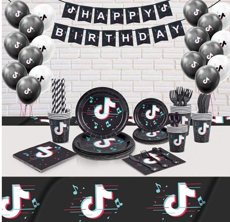 Праздвечерние чные принадлежности, баннер на день рождения с изображением TIK, воздушный шар, торт, Топпер, Музыкальный знак, флаги, топперы, Д...