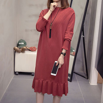Women Knitted Sweaters Dresses Women High Waist Sweater Dress Plus Size Loose Long Sleeve Ladies Sweater Dresses plus size textured long sleeve high low dress