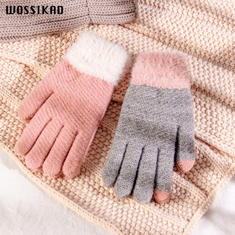 Touch Screen Glove Woman Winter Keep Warm Thickening Knitting Gloves Lovely Wool Imitate Plush Mink The Five Fingers Hiver Femme