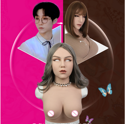 Crossdressing Silicone Female Realistic Skin Mask Fake D Cup Breast Forms For Crossdresser Shemale Masquerade Fetish Transgender