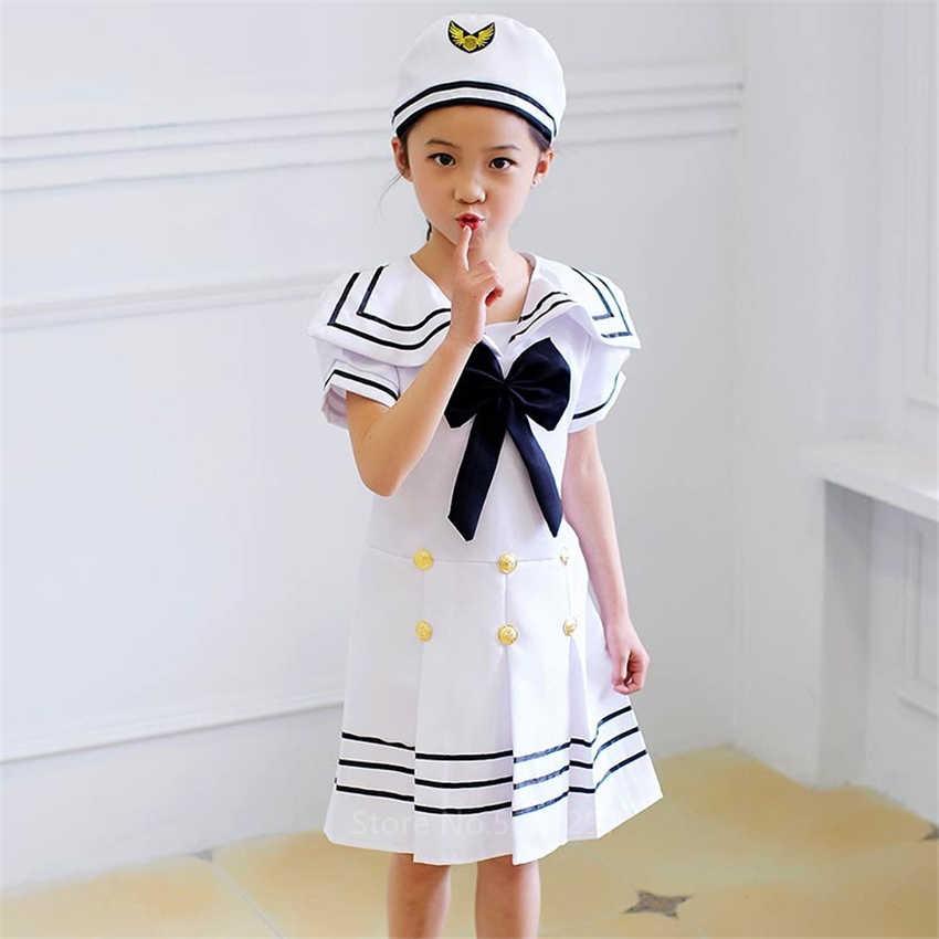 Dzieci mundur kapitan Navay oficer kostium marynarza dziewczyna chłopiec klasyczny Halloween Cosplay armia garnitur fantazyjne karnawałowe Party100-160CM