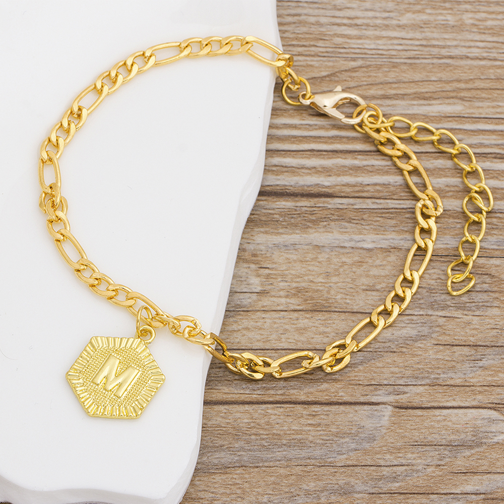 Fashion Gold Color 21cm + 10cm Extender Chain / A-Z Initial Letter Anklet For Women Alphabet Jewelry Gifts Foot Chain Girl 2020