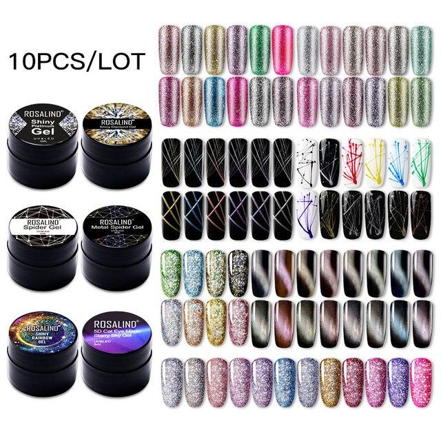 (Choose 10)ROSALIND Gel Nail Polish Set Glitter Color Gel Soak off UV Nail Art Manicure Primer Nails Gel Polish Varnish Kit