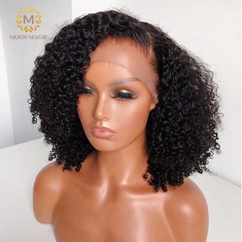 Peruka z kręconych włosów typu Kinky fryzura Pixie koronkowa peruka peruka z krótkim bobem przezroczysta koronkowa peruka z ludzkich włosów Glueless pełna 250 gęstość koronkowa peruka tanie i dobre opinie moonmagic Perwersyjne kręcone Lace Front wigs BR (pochodzenie) Virgin hair Ludzki włos Pół maszyny wykonane i pół ręcznie wiązanej