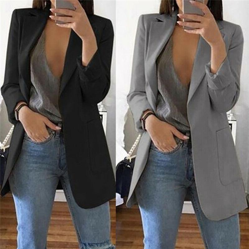 1pc Autumn Women Casual Long Sleeve Coat Suit Slim Cardigan Tops Blazer Jacket Outwear Formal Women V Neck Blazer Big Pocket