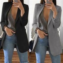 1pc Autumn Women Casual Long Sleeve Coat Suit Slim Cardigan Tops Blazer Jacket O