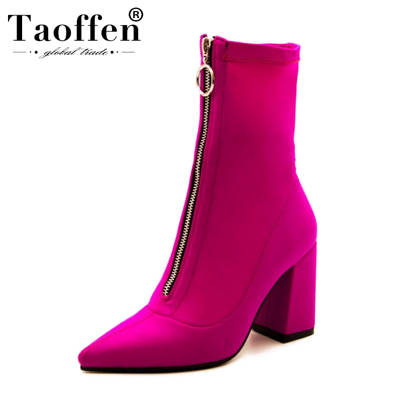 Taoffen 2020 Woman Fashion Stretch Boots Sexy Office Ladies Party Pointed Toe Ankle Boots High Heels Shoes Women Size 34-43