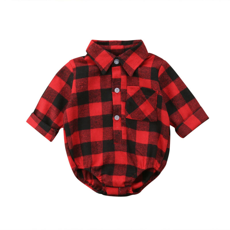 Xmas Newborn Baby Girl Boys Christmas   Romper   Plaid Shirt Outfit Clothes Reindeer Printing Red Shirt Clothes