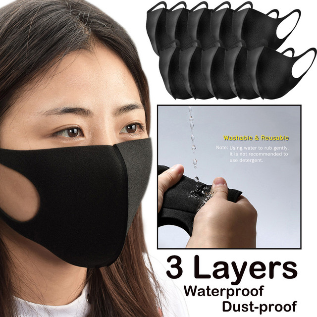 3 Layer Health Cycling Washable Earloop Mask 3D Ice Silk Cotton Cycling Anti Dust Filter Mouth Face Mask Care Respirator for Sum