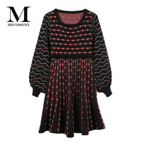 Italian Knitting Style Autumn and Winter 2018 New Version Retro Lantern Sleeve Stripe Knitted Round Neck Short Dress Female