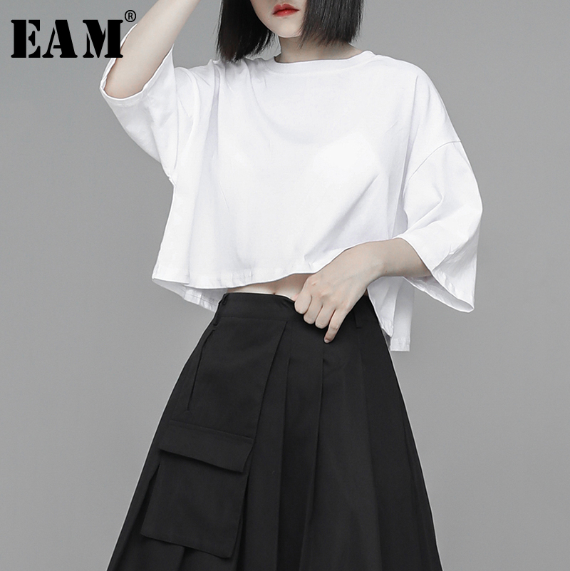[EAM] Womenwhite Brief Solid Color Cotton Big Size Short T-shirt New Round Neck Half Sleeve Fashion Spring Summer 2020 1U328