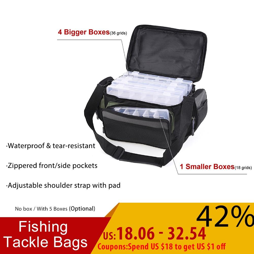 Waterproof Fishing Bag Multifunctional Fishing Tackle Bags Fish Road Reel Lure Hook Storage Shoulder Bag