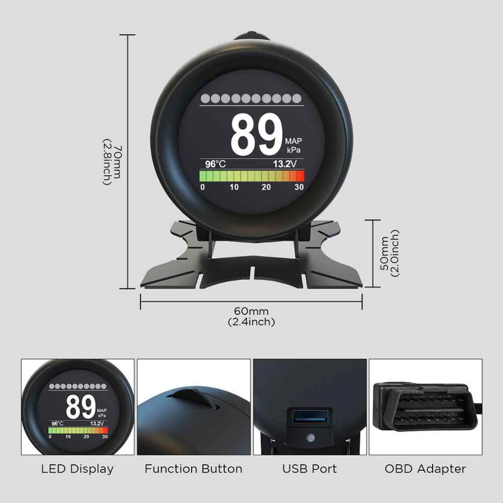 AUTOOL X60 HUD 자동차 스마트 디지털 다기능 알람 미터 온도 게이지 디지털 전압 속도 측정기 알람 클리어 오류 코드