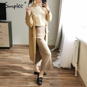 Image 4 - Simplee Winter mohair long cardigan knitted sweater women Long sleeve female jumper cardigan Casual streetwear pull femme 2019