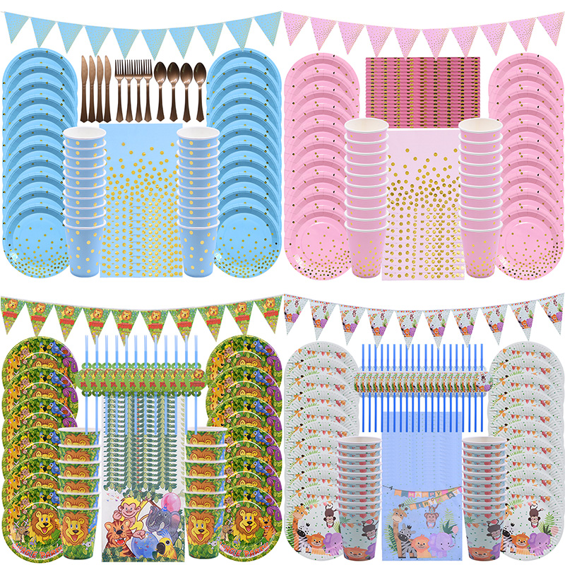 Paper-Plates Tableware-Set Wedding-Supplies Jungle-Party Birthday Pink Disposable Blue