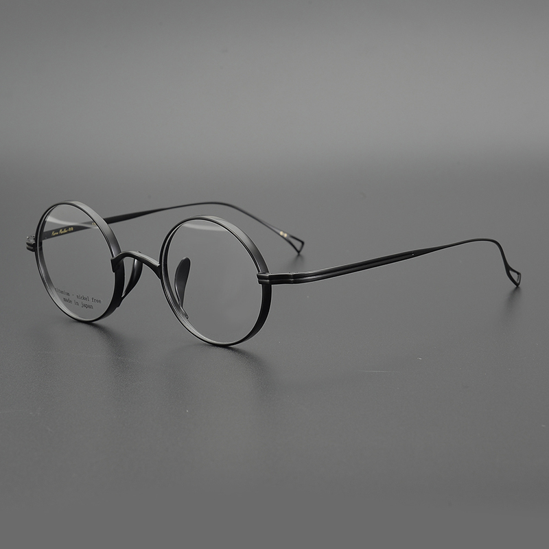 Zerosun Vintage Eyeglasses Men Small Round Titanium Glasses Frame Man Janpanese Lennon Nerd Spectacles Myopia Anti Blue Lens