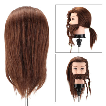 Male 100% Real Human Hair Mannequin Practice Training Head with Beard Barber Hairdressing Manikin Doll Head for Beauty School 14 90% male real hair mannequin practice training head with beard barber hairdressing manikin doll head for beauty school