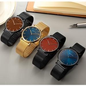 Image 5 - UltraบางนาฬิกาQUARTZ Mens Casualสีดำญี่ปุ่นควอตซ์นาฬิกาสแตนเลสไม้FaceนาฬิกาชายRelogio Masculinoใหม่