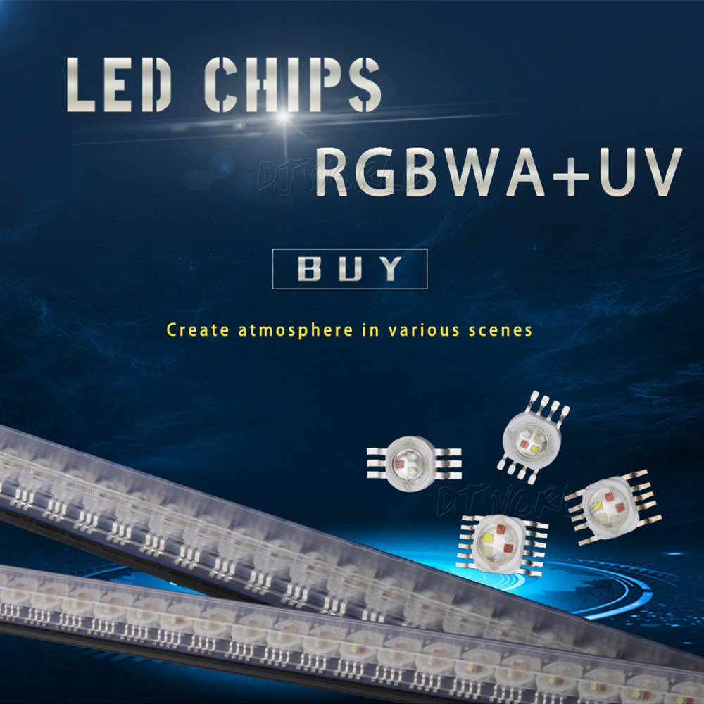 LED RGBWA+UV 6in1 For LED Lighting Chips Red/Green/Bule/White/Abmer/Ultraviolet For Disco Party Stage Light Disco DJ Music Party