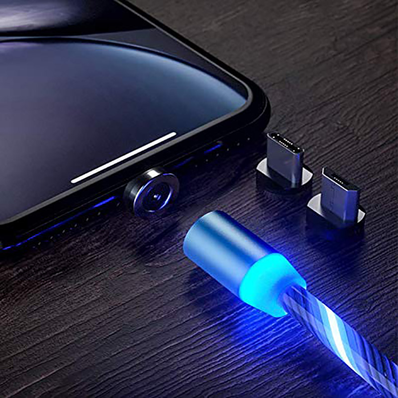 LED flow USB charger cable lamp shine charger glow charger magnetic quick connection magnetic three-in-one USB cable compatible Shop