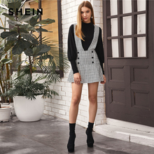 SHEIN Double Button Tweed Overall Flared Dress Women Spring Casual Sleeveless Pinafore High Waist Suspender Mini Dresses
