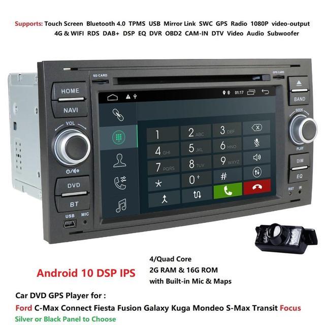 DSP Android 2G 16G 2dinวิทยุรถยนต์GPS DVDสำหรับFord Focus 2 Fiesta Mondeo 4 C max S Max Fusion Transit Kugaมัลติมีเดียนำทาง