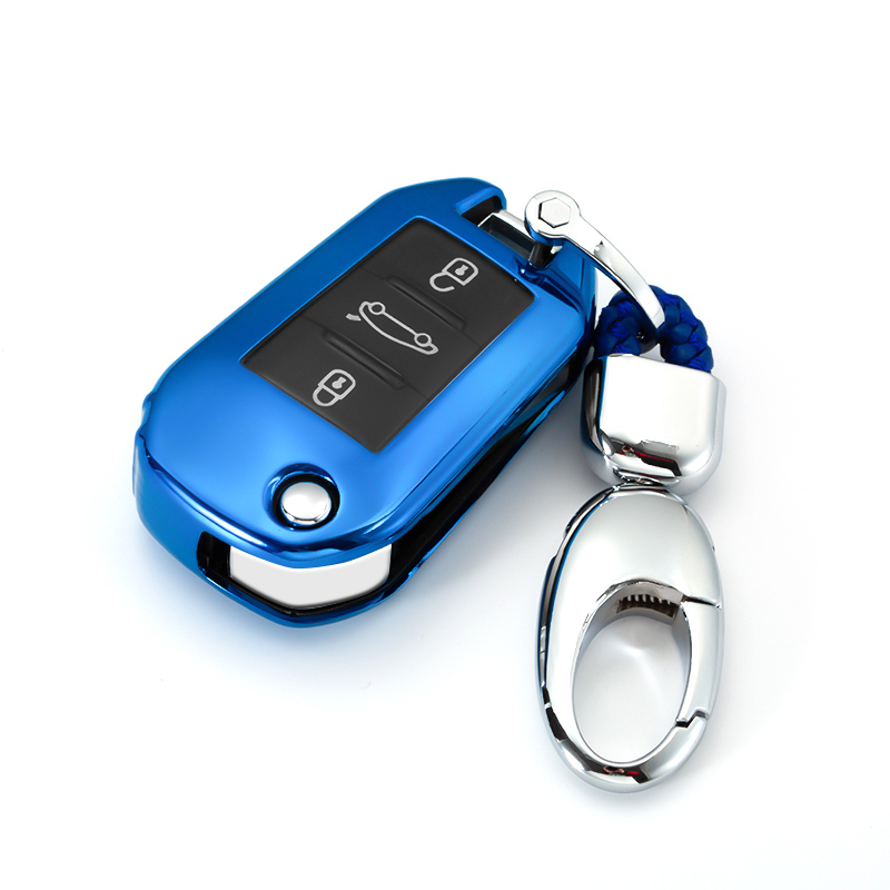 Soft TPU Car Key Case Shell Cover For Citroen C4L CACTUS C5 C3 C6 C8 Picasso Xsara For Peugeot 3008 308 RCZ 508 3button Keychain