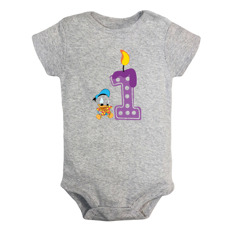 I'm 1 Year Old Cute Duckling 1st Birthday Candle Newborn Baby Girl Boys Clothes Short Sleeve Romper Jumpsuit Outfits Present