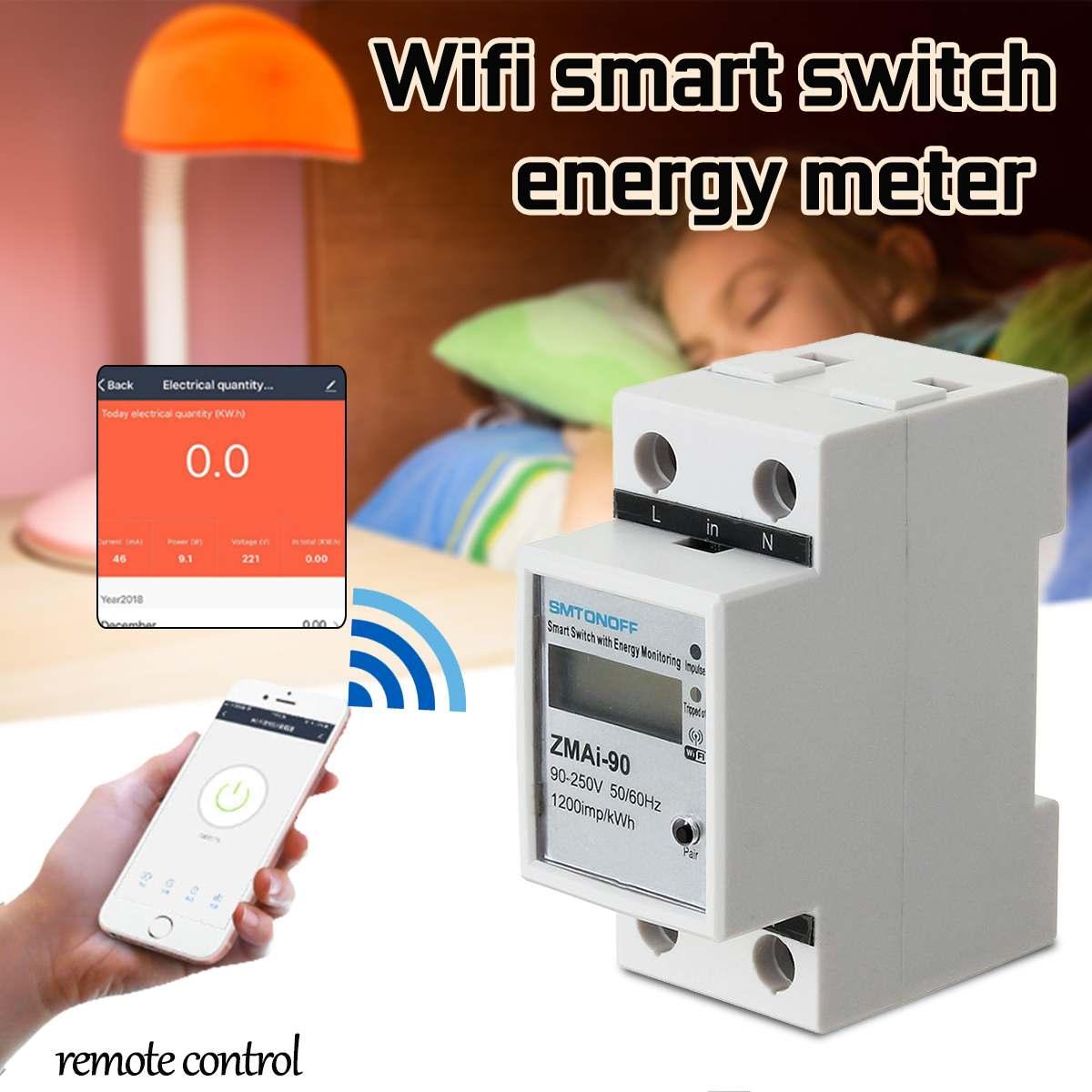 Digital Electric Consumption KWh Rail Smart Energy Meter WiFi Power Meter Watt Remote Switch Control Monitor 220V