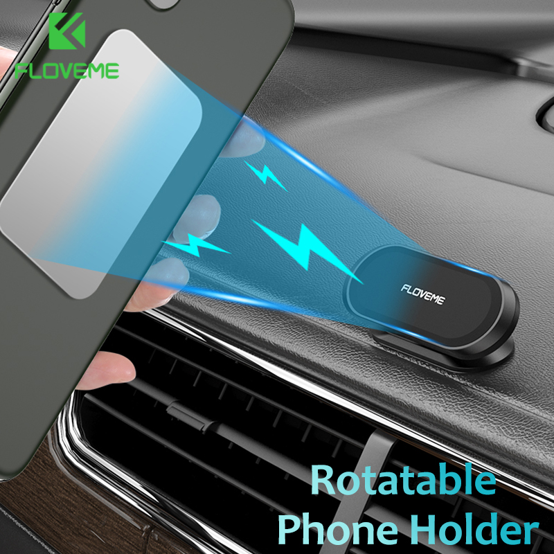 FLOVEME Magnetic Car Phone Holder Rotatable Mini Strip Shape Stand For IPhone Metal Strong Magnet GPS Car Mount For Mobile Phone