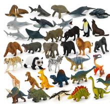 12Pcs/Pack Dinosaur Learning Toys Simulated Action Figure Mini Wild Animals Model Toy Panada Elephant Orangutan Lion Bear Model