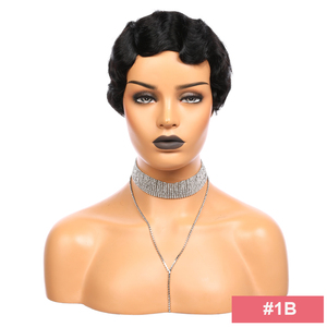 Image 2 - Pixie Cut Parrucca di Remy del Brasiliano Dei Capelli Umani Parrucche Dito Onda Ali FumiQueen Dei Capelli # 1B /#30 /#27 /# 99J /#2 Fatta a Macchina Parrucca Corta