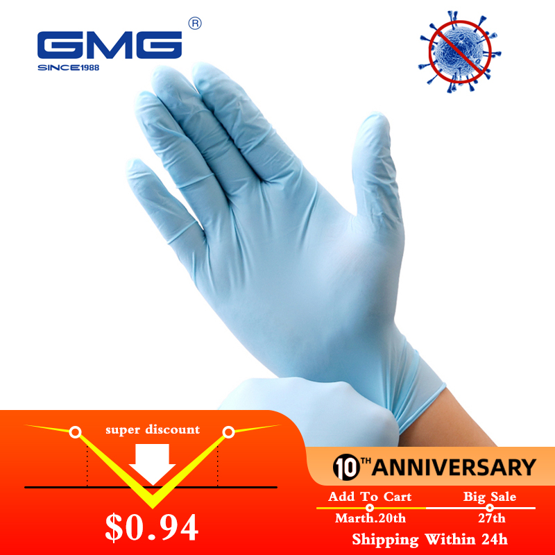 Nitrile Gloves Blue 6pcs/lot Food Grade Waterproof Allergy Free Disposable Safety Work Gloves Nitrile Disposable Gloves